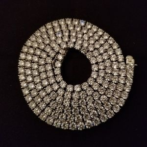 """CZ sterling silver 30"""" chain with 4mm stones"""